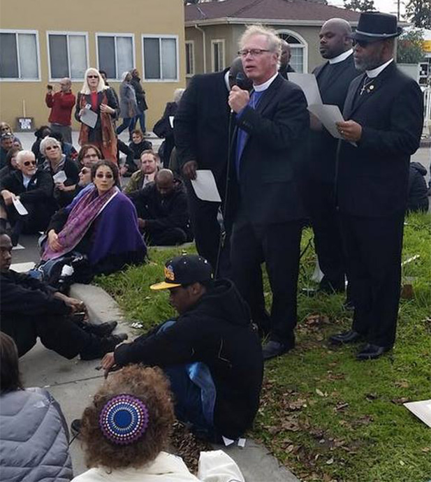 Bishop Marc Andrus at an interfaith Black Lives Matter rally and die-in
