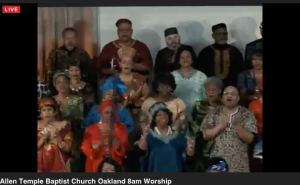 Singing with the Allen Temple Baptist Church Unity Choir (livestream image)