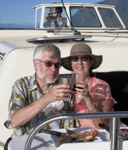 Jim and Joni Stickney on a boat