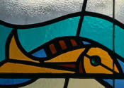 Shell and fish stained glass