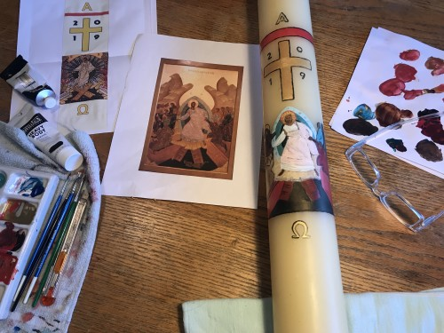 Decorating the candle with a rendition of our resurrection icon.