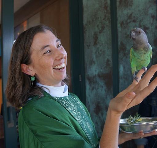 liz with parrot