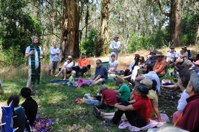 Phil preaching the parish picnic