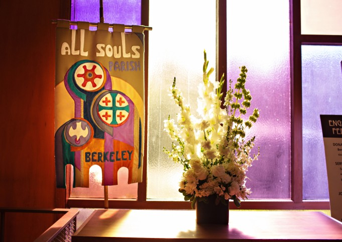 Old banner and flowers in narthex