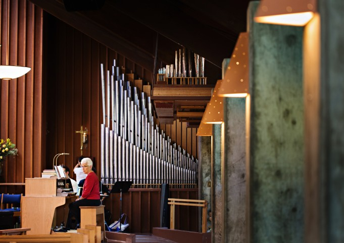 Organ pipes and sconces